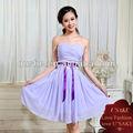 las señoras de la cinta de hombro fuera de color púrpura de gasa vestido de fiesta
