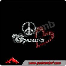 Hot Fix Peace Love Gymnastics Crystal Rhinestone for Apparel