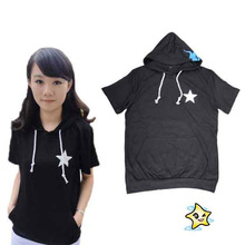 Popular fashion Black Rock Shooter Anime short-sleeved T-shirt With Hat