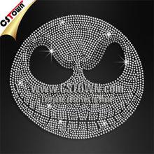 Halloween motifs skull rhinestone iron on transfer design