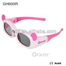 kids 3d active glasses/pink 3d eyewears for 3D TVs, like SONY, PANASONIC, TOSHIBA, Samsung, LG etc.