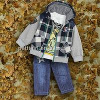 Wholesale Free Shipping Boys Clothing Suits 3 PCS Grid Coat And Cotton T Shirt And Jeans Pants Infant Clothes Set Wear CS30725-3