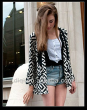 new balck white fashion printing jacket in 2013 summer