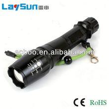 laysun aluminum alloy zoom focus glare long range outdoor waterproof led flashing torch 2 years warranty