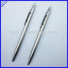 silver color slim metal twist ballpoint pen