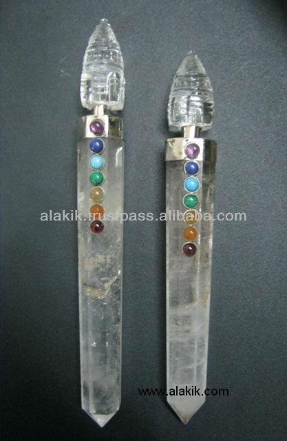 Sanación chakra varita con shree yantra: venta al por mayor de metafísica de la curación varitas,& péndulos de piedras curativas
