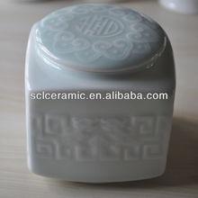 SLD02 Celadon Engraving Ceramic Tea Jar