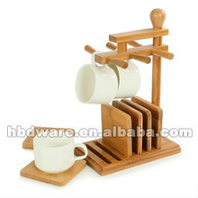 Graceful Cup set with bamboo holder & saucers