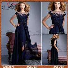 L'arrivée de nouveaux 2013 un- ligne de mode avec des fleurs en mousseline de soie sans bretelles robe de soirée bleu marine 2014