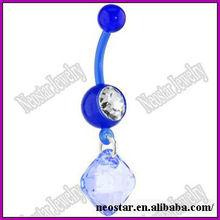 Bioplast Blue Jewel Drop Dangle Belly Button Ring,Navel Ring