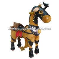 Kids Electric Plush Black War Horse Ride on Animal Toy