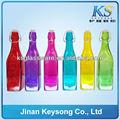 El amor y la salud de la venta caliente de vidrio de color jugo/cerveza/vino botellas de vidrio decorativo ks-jp012