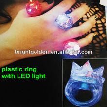Blinking light up led rubber jelly finger ring