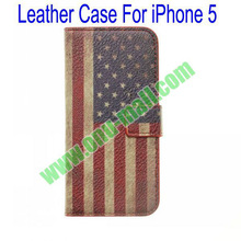 Classical Retro Stars and Stripes Flag Leather Case for iPhone 5
