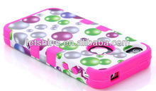 water droplets bubbles case 3 in 1 For iPhone 4 ,Hybrid Case Impact Cover Rainbow Bubbles Silicone