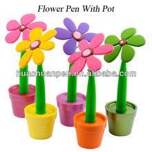popular green flower shaped pen for office , flower pen with pot