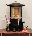 Budista antigo de madeira artesanal altar