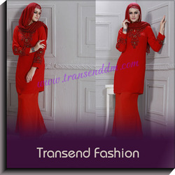 Transend fashion High quality beaded chiffon baju kurung for muslim hari raya