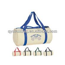 Promotion cylinder cotton canvas duffel bag manufacturer