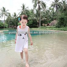 new design pure color korea cat print cotton kids dress