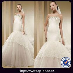 TB2906 Elegant Lace Applique Bridal Wedding Dresses Mermaid Tail