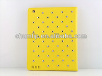 Yellow Smart Stubs Rhombus Design Cover Leather Case For ipad3