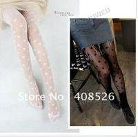 Sexy Fashion Lady's lace Big Dot Leggings Pants Pantyhose Slimming Solid Tights Socks Black White5239