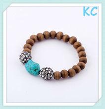fashion wood bead bracelet turquoise jewelry