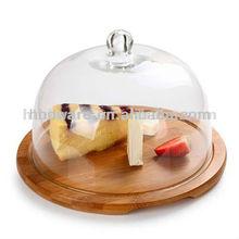 Atacado de vidro / vítreo queijo / bolo / pizzaDome com placa de bambu