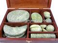 populares caliente de jade masaje piedras set en caja de madera