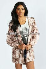Printed 100% cotton field sexy ladies rose tie dye lightweight parka jacket