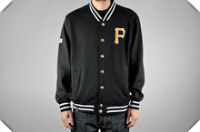 American fashion Black with gold embroidery Men's varsity Baseball Jackets