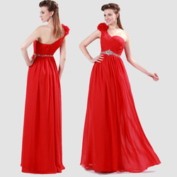 2015 new arrival Red One Shoulder Floor Length Chiffon Flower Bridesmaid Dress CL4411
