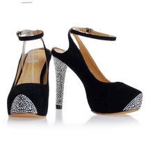 Zhejiang pump diamond lady party high end pump black flock closed toe high heels pump