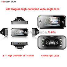 2.7 inch Car DVR Camera Vehicle Recording D1 H.264 video code+230 degree Wide Angle Lens+G-sensor+6 LED Night Vision