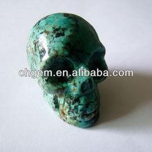 semi precious stone natural african turquoise skull head