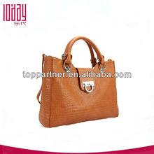 Fashion pure color stone grain leisure cow leather handbag