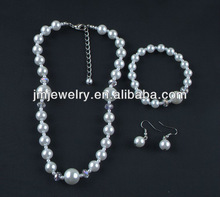 2015 New Fashion Wedding Necklace Set ! Pure White Glass Pearl Beads ! Specially for Women !