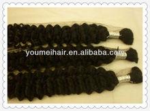 100% human hair, jerry curl bulk hair for braiding