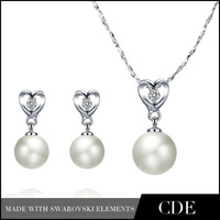 CDE Facotry Wholesale Cheap Pearl Drop Earrings and Necklace Bijoux Set,Fashion Jewel Sets Pearl Earring 2015