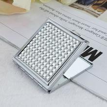 Wedding gift blank metal compact silver mirror wholesale