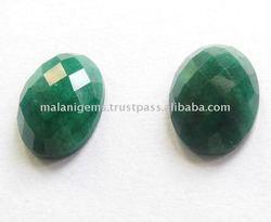 Semi Precious Dyed Emerald Rose Cut Oval