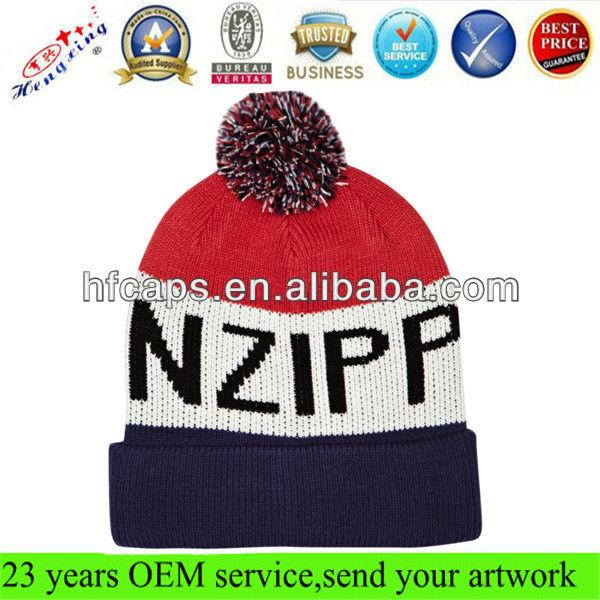 Outdoor wholesale skulli hip hop custom knitted ski hat