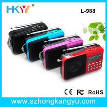 mini pocket digital fm radio+LED screen display+tf card reader speaker+usb port