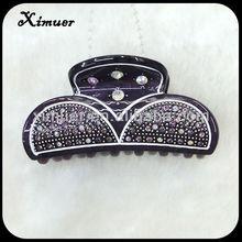 High quality purple rhinestone hair claws plastic