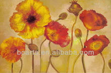 handmade poppy flower modern oil painting wall canvas hot wall arts for home deco