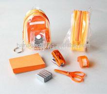 3d knapsack shap pvc keychain with stationery set