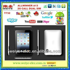 "shenzhen 7"" android 4.0 TABLET PC Allwinner A13 with 2g call android tv function raspberry pi"