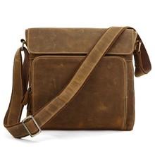 Top Grade Vintage Style Multifunctional Handmade Fashion Genuine Crazy Horse Leather Shoulder Strap Bag Men#7051B-1