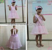 Manufactorer Sales Baby Dress Girls' Pink Chevron Design With Headband In Set Backless Dress